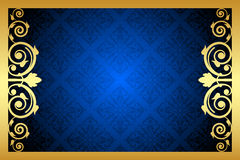 Oro y marco floral azul Fotografía de archivo libre de regalías