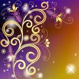 Oro y marco floral violeta Fotografía de archivo libre de regalías