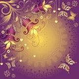 Oro y marco violeta de la tarjeta del día de San Valentín Imagenes de archivo
