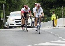 Oro y medallistas de plata en raza en tándem de la bici - juegos de ParaPan - Toronto 8 de agosto de 2015 Imagenes de archivo