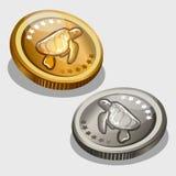 Oro y moneda de plata con imagen de una tortuga libre illustration