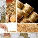 Oro y monedas viejas. Un collage Fotos de archivo libres de regalías