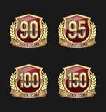 Oro y rojo 90.o, 95.o, 100o, 150os años de la insignia del aniversario Fotografía de archivo