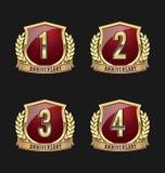 Oro y rojo 1r, 2do, 3ro, 4tos años de la insignia del aniversario Fotos de archivo libres de regalías