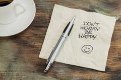 Oroa inte är lyckligt Arkivfoto