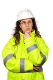 oroad konstruktionskvinnligarbetare Arkivbild