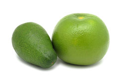 Oroblanco and Avocado, isolated Royalty Free Stock Photos