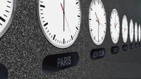 Orologi accurati con differenti fasce orarie per ogni capitale stock footage
