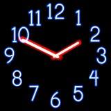 Orologi al neon Immagini Stock
