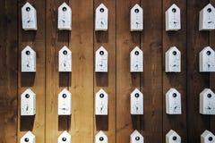 Orologi bianchi dell'uccello sulla parete di legno fotografia stock libera da diritti