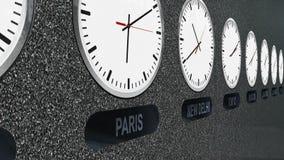 Orologi con differenti fasce orarie nel lasso di tempo stock footage