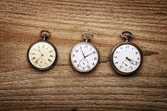 3 orologi da tasca Fotografia Stock