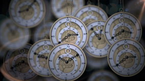 Orologi da tasca d'attaccatura che ticchettano nelle ombre illustrazione di stock