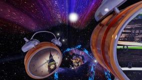 Orologi del buco del verme di viaggio di tempo con i video - ciclo infinito illustrazione vettoriale