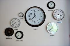 Orologi della fascia oraria del mondo Fotografia Stock Libera da Diritti