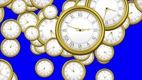 Orologi di caduta su fondo blu video d archivio