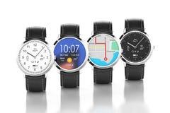 Orologi di Smart con differenti interfacce Fotografie Stock Libere da Diritti