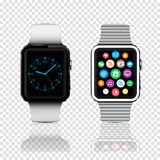 Orologi di Smart con le icone e fronte di orologio sullo schermo Immagini Stock Libere da Diritti