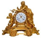 Orologi di tabella dorati antichi Fotografie Stock
