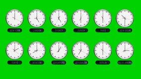 Orologi differenti accurati delle fasce orarie su uno schermo verde illustrazione di stock