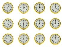 Orologi dorati Immagine Stock Libera da Diritti