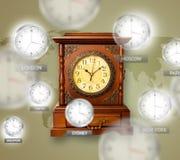 Orologi e fasce orarie sopra il concetto del mondo fotografia stock libera da diritti
