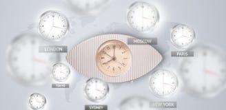Orologi e fasce orarie sopra il concetto del mondo immagine stock