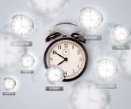 Orologi e fasce orarie sopra il concetto del mondo immagine stock libera da diritti