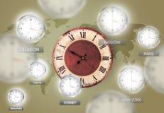 Orologi e fasce orarie sopra il concetto del mondo immagini stock libere da diritti