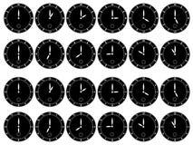 Orologi neri su priorità bassa bianca Immagini Stock Libere da Diritti