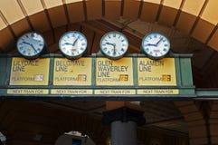 Orologi storici della stazione della via del Flinders immagini stock libere da diritti