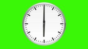 Orologio analogico animato, lasso di tempo, sullo schermo verde illustrazione di stock