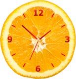 Orologio arancio della fetta Fotografia Stock