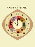 Orologio astratto con gli oggetti del caffè Immagine Stock Libera da Diritti
