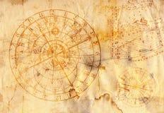 Orologio astronomico sul documento del grunge Fotografia Stock Libera da Diritti