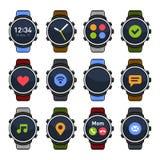Orologio astuto con Apps differente sulle icone dello schermo messe Vettore Immagine Stock Libera da Diritti