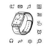 Orologio astuto di vettore disegnato a mano, icona su fondo bianco Immagine Stock