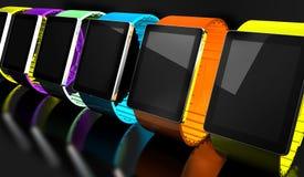 Orologio astuto Mobilità creativa di affari e concetto portabile mobile moderno di tecnologia del dispositivo Colori l'orologio a illustrazione di stock