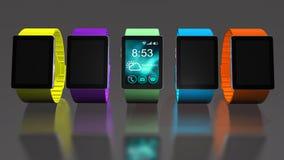 Orologio astuto Mobilità creativa di affari e concetto portabile mobile moderno di tecnologia del dispositivo Fotografia Stock Libera da Diritti