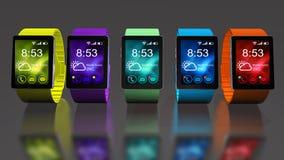 Orologio astuto Mobilità creativa di affari e concetto portabile mobile moderno di tecnologia del dispositivo illustrazione di stock