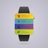 Orologio astuto Modello di progettazione di Infographic Illustrazione di vettore Fotografia Stock