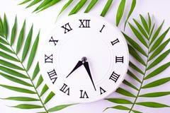 Orologio bianco d'annata e foglie di una pianta di tropis Disposizione piana, vista superiore fotografie stock libere da diritti