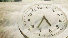 Orologio che ticchetta sopra l'erba di salto del vento illustrazione vettoriale
