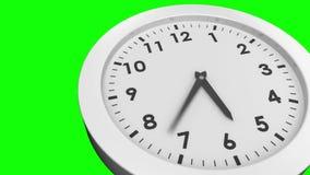 Orologio che ticchetta sul fondo verde archivi video