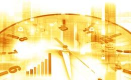 Orologio con il dollaro ed il grafico commerciale Immagini Stock