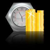 Orologio con la moneta dei soldi Fotografia Stock Libera da Diritti