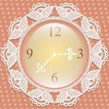 Orologio con la struttura di pizzo Fotografia Stock
