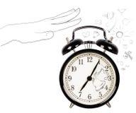 Orologio d'annata con i simboli di mattina di scarabocchio Immagine Stock Libera da Diritti