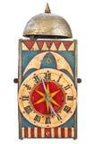 Orologio d'annata con una campana su superiore isolata su bianco Fotografie Stock Libere da Diritti