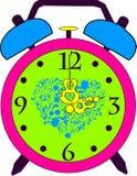 Orologio d'annata della sveglia di colore di vecchio stile Fotografia Stock